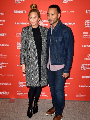 The month prior, Chrissy and John rocked a bold print