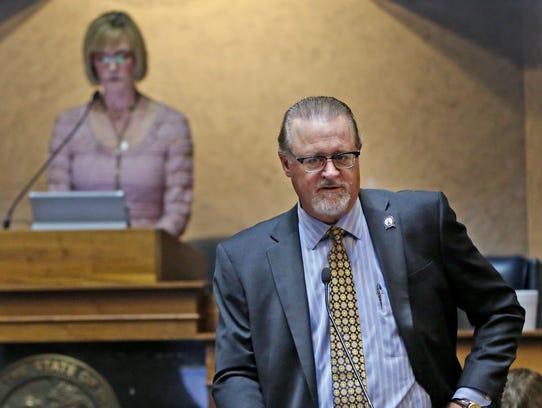 Indiana Senator David Long speaks in the Senate Chambers