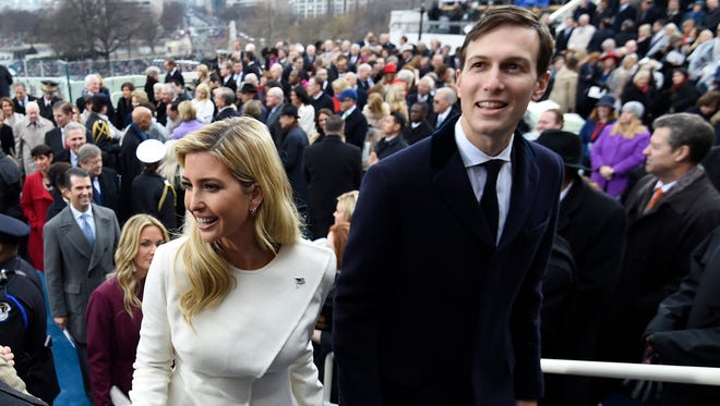 Ivanka Trump and husband, Jared Kushner leave after the presidential inauguration at the U.S. Capitol in Washington, D.C., on Jan. 20, 2017.