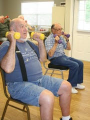 """William """"Bill"""" Cubr (right), celebrated his 95th birthday on June 18 with his friends at the Mruk Family Education Center on Aging. He attends regular classes on Mondays, Wednesdays and Fridays, and he will occasionally lead the exercise class. Also pictured is Don Meyers of Mountain Home."""