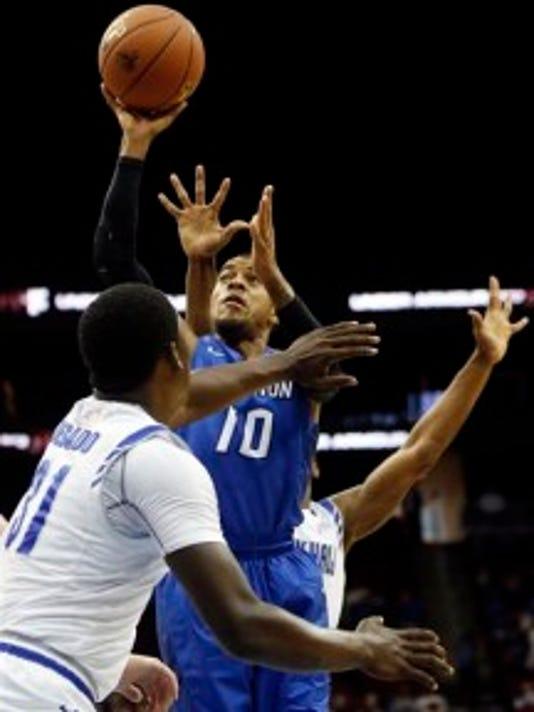 Creighton guard Maurice Watson Jr. (10) goes up for a shot against Seton Hall (AP photo)