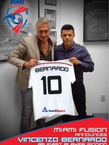 Vincenzo Bernardo of Madison (right) became Miami Fusion FC's first player on Tuesday, thanks to his former youth coach in Morris Plains, Ferdinando DeMattaeis. Photo courtesy of Miami Fusion FC