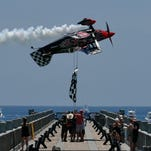 The Blue Angels perform over Pensacola Beach during their practice show Thursday afternoon.