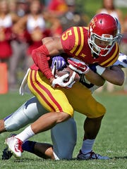 After the catch, Iowa State's Allen Lazard fought for