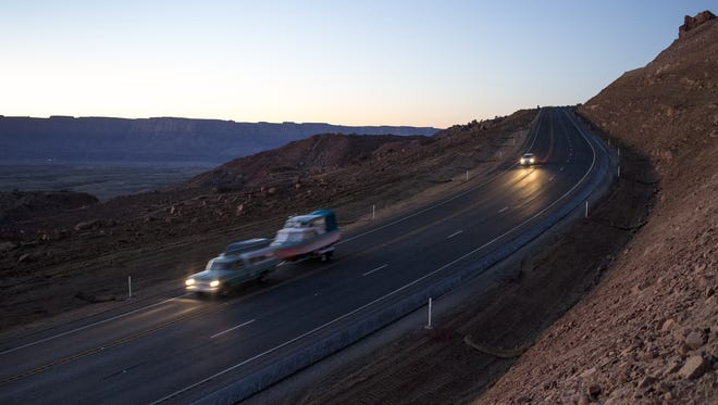 Vehicles travel U.S. 89 south of Page, which was reopened in 2015 after two years of closure for rebuilding.