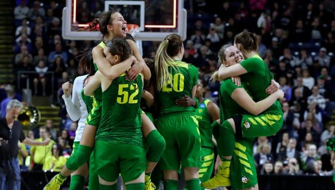 Oregon celebrated its upset of Maryland.