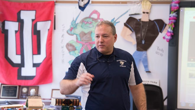 Dave Purvis, Language Arts teacher at Helfrich Park STEM Academy, is in his first year of teaching at the school, but taught for 27 years in Mount Vernon, Ind.