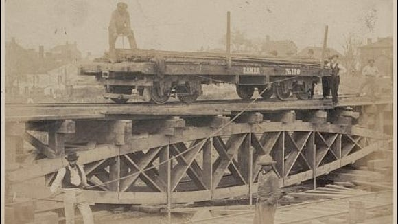Andrew J. Russell photo of a Portable Bridge Truss, 1862 or 1863 (Library of Congress, Prints and Photographs Division)