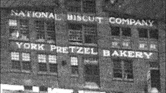 Front of 1914 Building of the York Pretzel Bakery, shortly after the Bakery was Sold to the National Biscuit Company in 1925 (Photo from Collections of York County Heritage Trust)