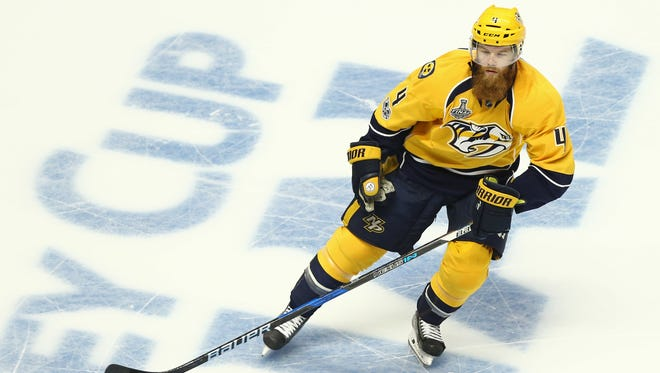 Predators defenseman Ryan Ellis skates against the Penguins during Game 6 of the 2017 Stanley Cup final at Bridgestone Arena in Nashville on June 11, 2017.