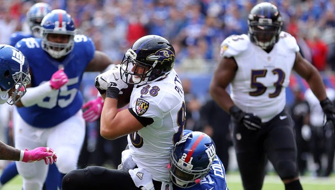Ravens TE Dennis Pitta had four catches for 40 yards in Week 7 against the Giants.