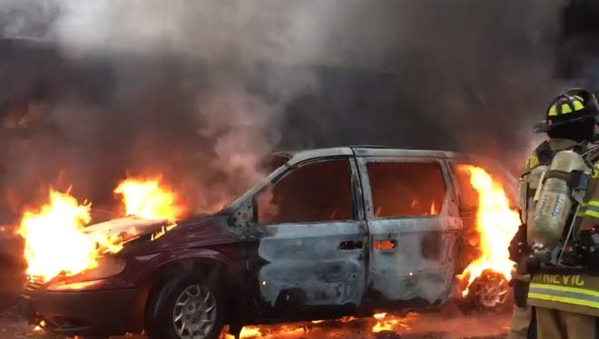 A garage fire Tuesday evening in the city of Fond du Lac destroyed a car.
