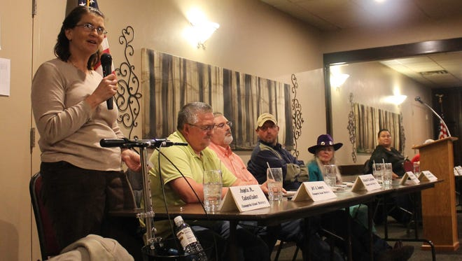 Angela Cadwallader, candidate for Alamogordo's Board of Education, speaks to the community on Thursday night.