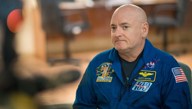 Expedition 43 NASA Astronaut Scott Kelly sits down for a television interview at the Cosmonaut Hotel, Thursday, March 19, 2015 in Baikonur, Kazakhstan. Kelly, and Russian Cosmonauts Gennady Padalka, and Mikhail Kornienko of the Russian Federal Space Agency (Roscosmos) are preparing for launch to the International Space Station in their Soyuz TMA-16M spacecraft from the Baikonur Cosmodrome in Kazakhstan March 28, Kazakh time. As the one-year crew, Kelly and Kornienko will return to Earth on Soyuz TMA-18M in March 2016. Photo Credit: (NASA/Bill Ingalls)
