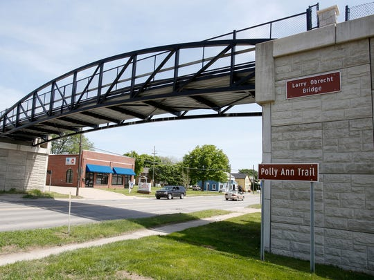 This $2-million bridge carries no vehicles except bicycles, alongside hikers, runners and walkers on the Polly Ann Trail, a 17-mile linear park in northern Oakland County. The bridge was built at what once was a railroad's at-grade crossing on Lapeer Road (M-24) in Oxford, Mich.