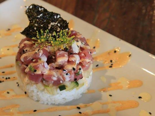 Poke Stack (tuna and cumcumber with seasoned rice)