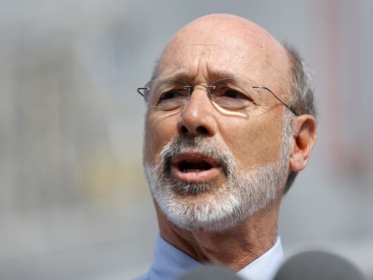 Pennsylvania Gov. Tom Wolf speaks during a news conference
