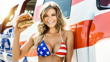 """Carl's Jr. new ad for the Most American Thickburger stars """"Sports Illustrate"""" swimsuit model Samantha Hoopes."""