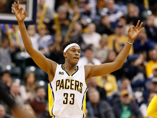 Indiana Pacers center Myles Turner (33) reacts after