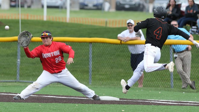 Norton's Steven Cruz gets Marlington's Andrew Pucci out at first during the fourth inning of their district semifinal game at Louisville.