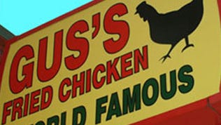 Gus's World Famous Fried Chicken sign.
