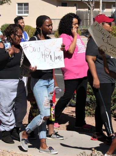 Participants at the March for Black Women in Phoenix