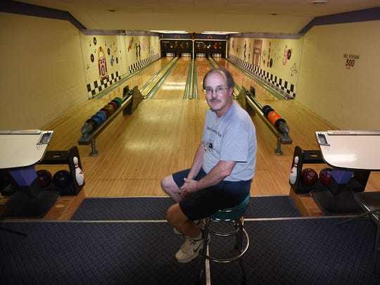 Terry Bicksler, owner of the Fredericksburg Bowling Center, sits in front of the four lanes. The bowling alley has been a fixture in Fredericksburg since the 1940s. It is open to league play and is available for private parties.