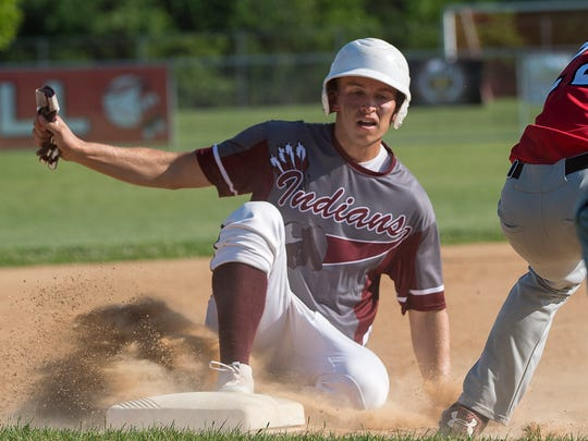 Southern Fulton's Dylan Gordon slides into third base  during the District 5 Championship. Gordon and the Indians will take on Greensburg Central Catholic in the first round of the PIAA Tournament on Monday.