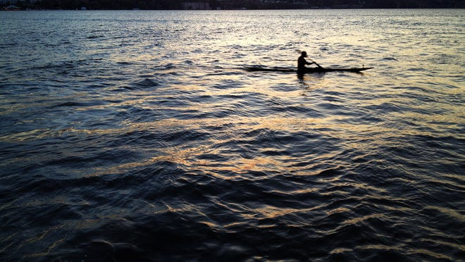 A kayaker paddles on the Hudson River near Scenic Hudson's Long Dock Park off Beacon in this photo taken last year.