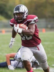 Hodgson's Darius Hale carries in the second quarter of last week's 14-8 win over DMA. All three of our expects are predicting the fifth-ranked Silver Eagles to win a tough game at No. 6 William Penn on Saturday.
