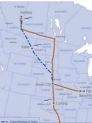 Propose route of the Keystone XL Pipeline.