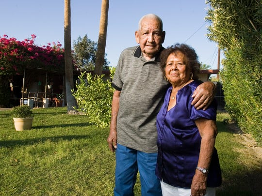 Pasqual Quiroz, widely acknowledged as the first Mexican-American born in the village of Palm Springs, died at age 89 on Saturday at a local nursing home after suffering a broken hip. He is 86 in this photo with his wife, Mary Quiroz.