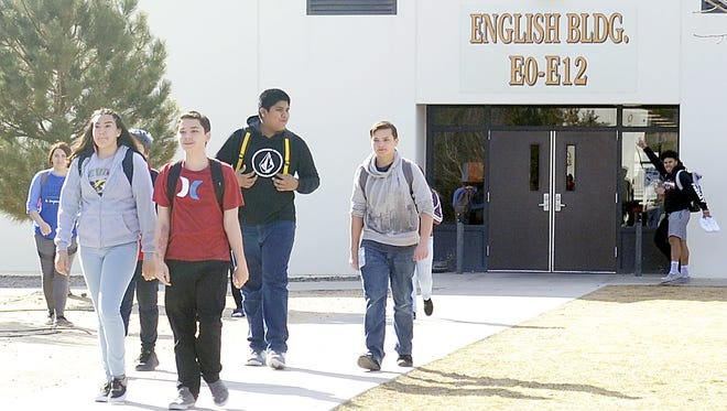 Students walk across the campus at Fernley High School.