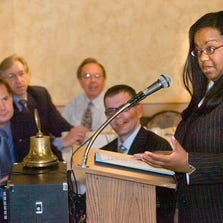 Wayne County Prosecutor Kym Worthy speaks to the Kiwanis Club of Colonial Plymouth in an earlier appearance.