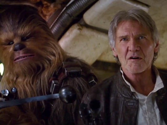 """Chewbacca and Han Solo (Harrison Ford) make an appearance in a trailer for """"Star Wars: The Force Awakens."""""""