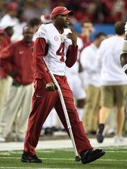 Alabama defensive back Eddie Jackson roams the sidelines