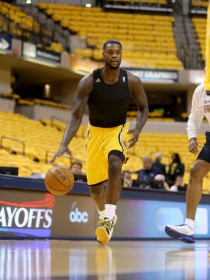 Pacers guard Lance Stephenson warms up before the Pacers faced Atlanta in game 7 of the Eastern conference playoffs.