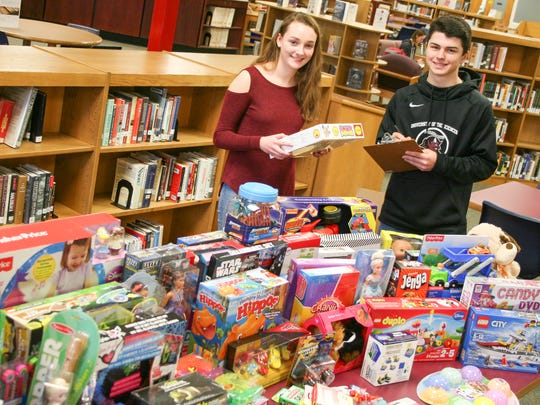 About 75 new toys were collected by Catherine Cunningham, Jack Cariddi and the other members of Delaware Valley High School's Key Club. The toys will go to the Children's Holiday Fund, which is administered by the Frenchtown Lions Club and American Legion, for distribution to needy kids in the Del Val sending district — Frenchtown and Milford and the townships of Alexandria, Holland and Kingwood — plus Tinicum Township across the Delaware.
