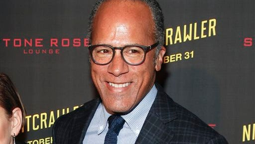 """FILE - In this Oct. 27, 2014 file photo, Lester Holt attends the New York premiere of """"Nightcrawler"""" in New York. While Lester Holt's ascension to full-time anchor of NBC's """"Nightly News"""" came as a result of Brian Williams' stunning downfall, no one can say he hasn't worked hard to take advantage of an opportunity. The California-born Holt becomes the first African-American to be sole anchor of a network evening newscast.  (Photo by Andy Kropa/Invision/AP, File)"""