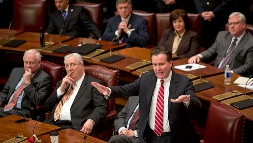 Senate Majority Leader John Flanagan, R-Smithtown, speaks in the Senate Chamber at the Capitol on the opening day of the legislative session on Wednesday, Jan. 6, 2016, in Albany, N.Y. (AP Photo/Mike Groll)