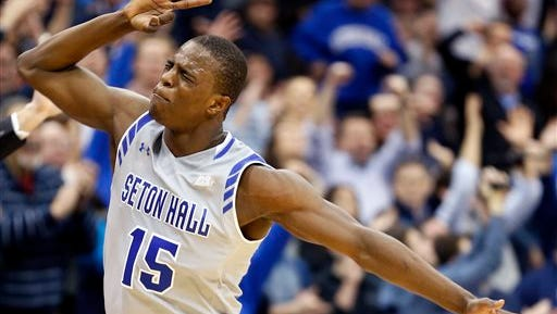 Seton Hall guard Isaiah Whitehead reacts after a basket against Villanova.