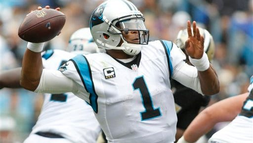 Carolina Panthers' Cam Newton (1) led his team to the Super Bowl.