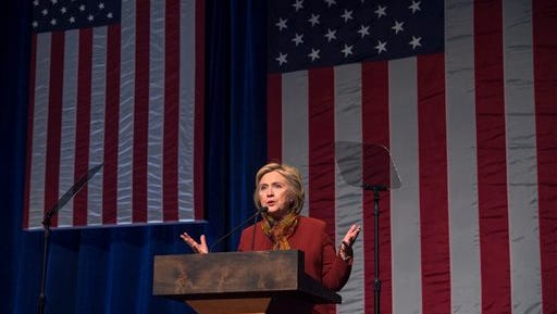 Democratic presidential candidate Hillary Clinton speaks at the Schomburg Center for Research in Black Culture, Tuesday, Feb. 16, 2016, in New York.