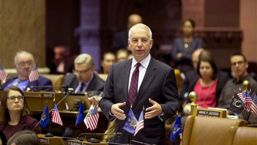 Assemblyman Bob Oaks, R-Macedon, speaks on a budget bill in the Assembly Chamber at the state Capitol on Thursday, March 31, 2016, in Albany, N.Y.