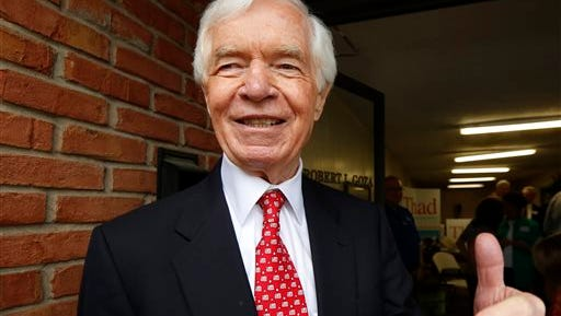 U.S. Sen. Thad Cochran, R-Miss., greets supporters and volunteers Tuesday  at his Canton headquarters.