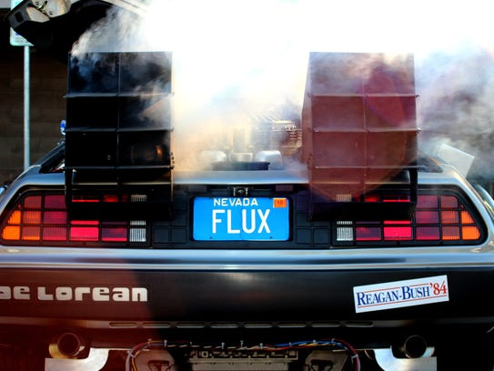 Jeff Gladding's DeLorean blows out smoke on Wednesday