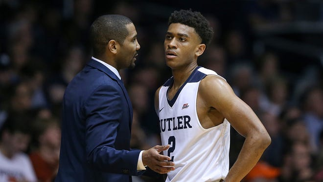 Butler coach LaVall Jordan talks to guard Aaron Thompson (2) during second half action between the Butler Bulldogs and the Princeton Tigers at Hinkle Fieldhouse, Indianapolis, Sunday, Nov. 12, 2017. Butler defeated Princeton, 85-75.