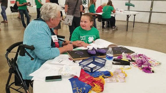 Perry Pathfinders 4-H member Lily Hollingsworth listens to a judge during the 4-H Static Exhibit Judging Day in 2019. PHOTO COURTESY OF KENDRA WOEHL