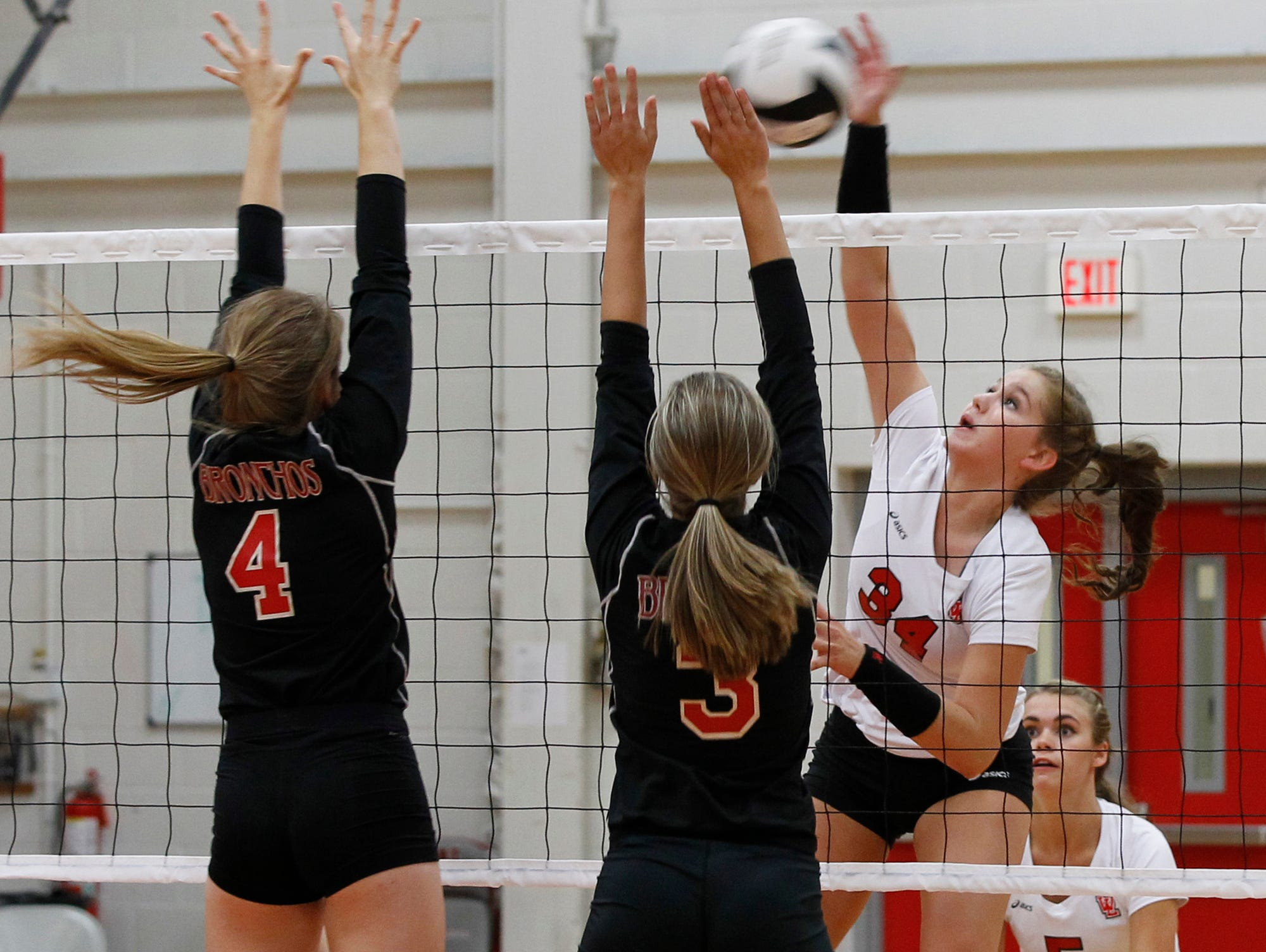 Action as West Lafayette hosts Lafayette Jeff in volleyball Tuesday, August 25, 2015, in West Lafayette. West Lafayette defeated Jeff 25-14, 25-11, 25-19.