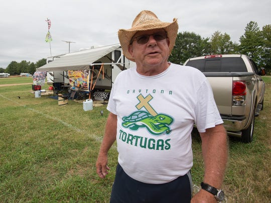 Earle Mize of South Mills, N.C., at his campsite for race weekend at Dover International Speedway.